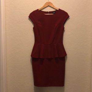 Cap sleeve burgundy peplum dress